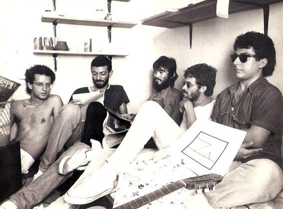 Com Carlão, Cesar Sumiya, Chico Atrito e Rodrigo Garcia Lopes, Londrina (1984).