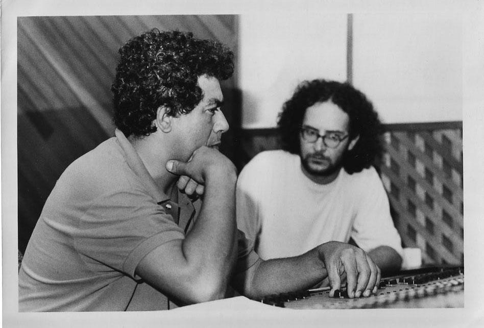 Com Edvaldo Santana, gravação do disco Lobo Solitário, São Paulo (1993). Foto Bernardo Magalhães
