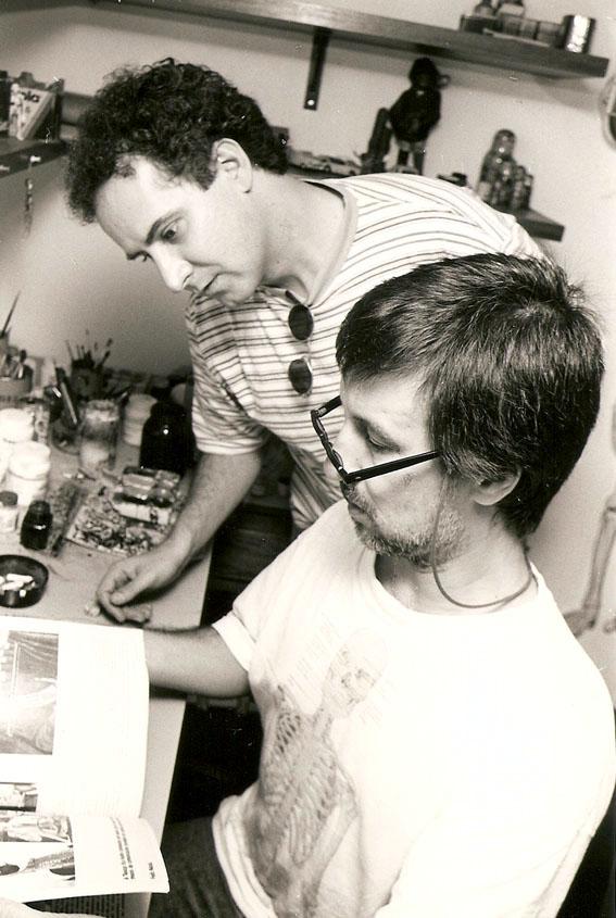 Com o cartunista Laerte, São Paulo (1998). Foto Muniz Filho