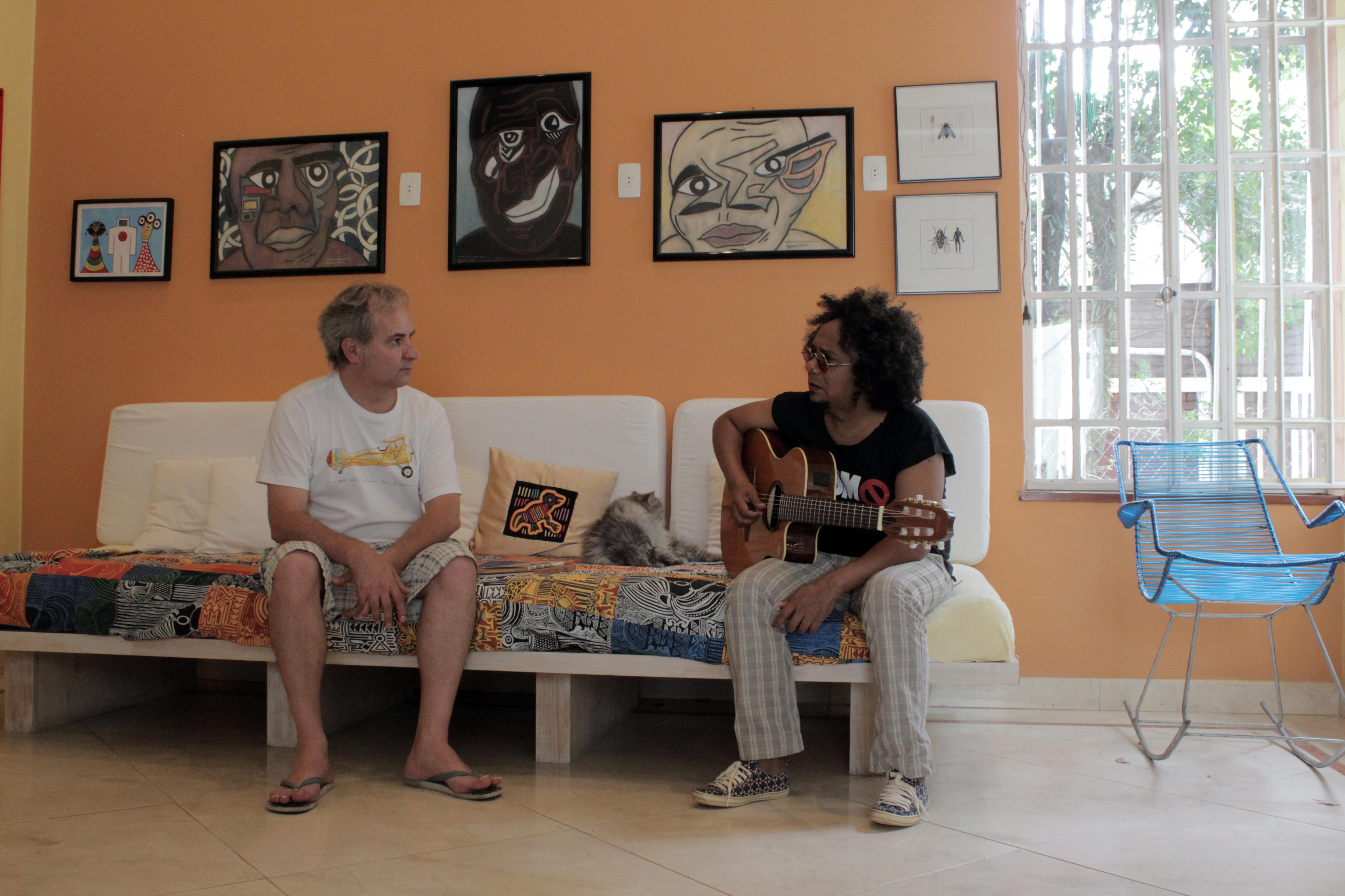 Com Chico Cesar, São Paulo (2014). Foto Robson Timóteo